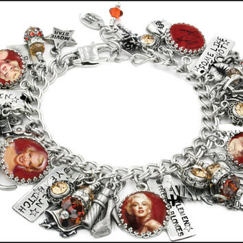 Marilyn Monroe Charm Bracelet, Marilyn Monroe Jewelry, Movie Star Jewelry, Ruby and Gold Jewelry, Vintage Star Bracelet
