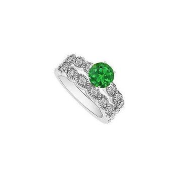 Emerald and Diamond Engagement Ring with Wedding Band Set : 14K White Gold - 0.50 CT TGW