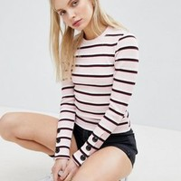 Bershka Multi Stripe Ribbed Top at asos.com