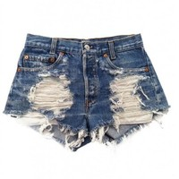 Urban Eclectics Women's Shredded Vega Vintage Levi's Shorts-Blue Denim-S