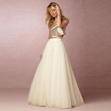 CREYCI7 5 Layers Maxi Long Skirt Soft Tulle Skirts Cream Ivory Wedding Bridesmaid Tutu Skirt Plus Size Faldas Saias Femininas Jupe