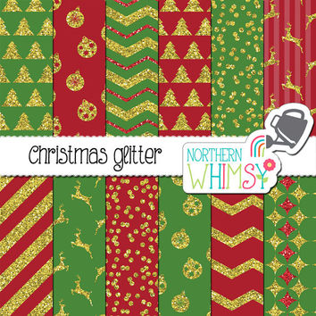 Christmas Digital Paper Pack – red, green, and gold Christmas glitter papers -  glitter digital paper – printable paper - commercial use