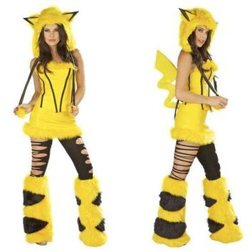 Freesize Pikachu Plush Animal Costumes Halloween Dress Party Dress Role Play Clothes Performance Clothing Cosplay Dresss Uniform Temptation (color: Yellow) = 1932127428