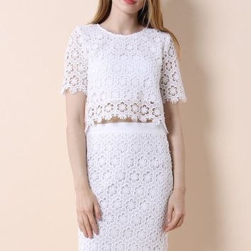 Dashes of Daisy Crochet Top and Skirt Set