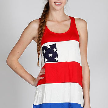 Red & White Stripe Tank with Star Pocket