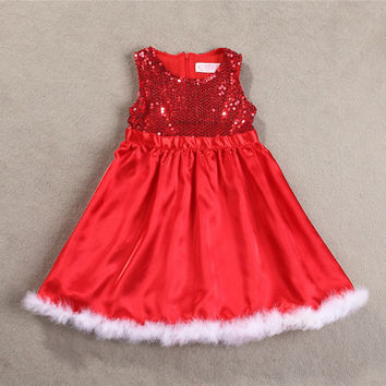 Christmas Holiday Dress With Trimmed Fur
