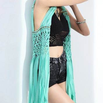 Streetstyle  Casual Fringe See-Through Crochet Sleeveless Kimono