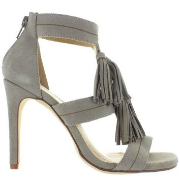 ONETOW Chinese Laundry Speak Easy - Cool Taupe Suede Tassel Stiletto Sandal