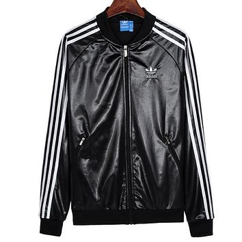 Adidas Trending Women Men Stylish Embroidery Print Leather Long Sleeve Zipper Cardigan Jacket Coat Black
