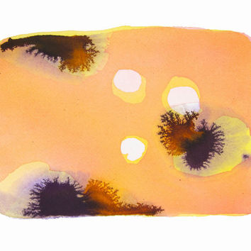Original Sea Life Watercolor Painting - Beach Cottage Art - Bright Abstract Painting - Coral - Purple - Yellow