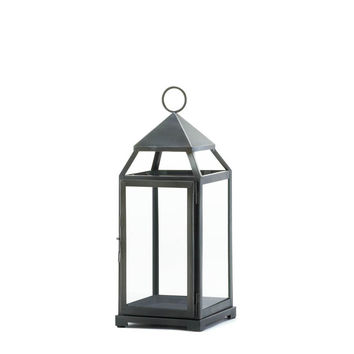 Rustic Silver Contemporary Candle Lantern - Large
