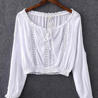 White Boat Neck Elastic Cuff Crop Blouse