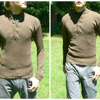 Authentic Military Issue Service Sweater - Brown Shawl Collar / Henley Style - 100% Wool - Army Commando - Mens Size L (42-44)