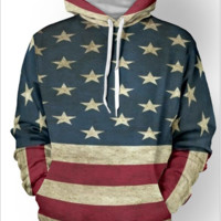 The 3 d digital printing hot style the flag of the Long sleeve fleece