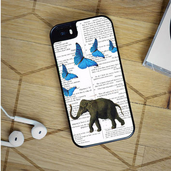 elephant and butterflies iPhone 5(S) iPhone 5C iPhone 6 Samsung Galaxy S5 Samsung Galaxy S6 Samsung Galaxy S6 Edge Case, iPod 4 5 case