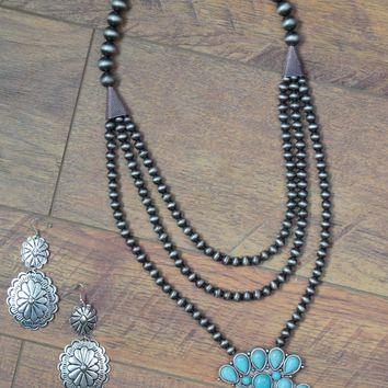 Turquoise Squash Blossom w/ Pewter Beads - Triple Strand Necklace