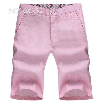 Summer Leisure Mens Short Pants Casual Shorts for Men Natural Linen Trousers Grey solid colors High Quality