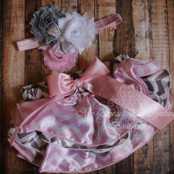 Gray & Pink Chevron Satin Ruffle Bloomer Set- Diaper Cover - Baby Girl Outfit- Newborn Outfit - Cake Smash Outfit- Photo Prop