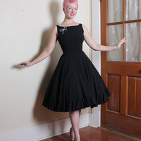 PERFECTION Late 1950's New Look Inky Black Silk Rayon Blend Party Dress w/ Flirty Ruffled Hem by A Junior Sophisticate Original - Size S