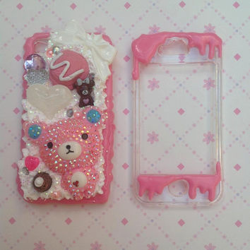 Pink Rilakkuma whipped cream and sweets decoden iPhone 4/4s Case