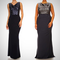 Affordable long Sequin Bridesmaid dress Navy and Charcoal S - 3XL