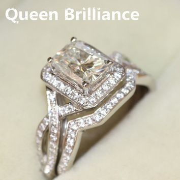 Women's 14k Gold 1.2 CT Radiant Cut Moissanite Diamond Ring Wedding Ring Set