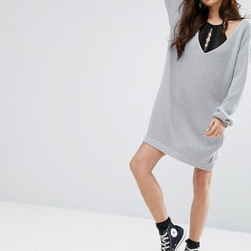 Boohoo V Neck Jumper Mini Dress at asos.com