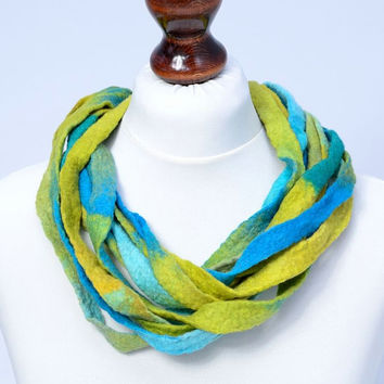 Turquoise & yellow felt multi strand necklace with twisted design - twist, multistrand, ribbon necklace - fiber jewelry [N107]