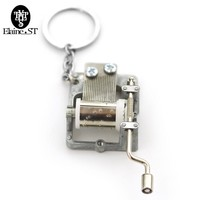 New Design 2 Style Hogwarts School And Game of Thrones Music Box Key Chains Hand Crank Movements Key Chains Gift For Men Women