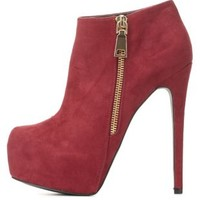 Side-Zip Platform Ankle Booties by Charlotte Russe - Oxblood