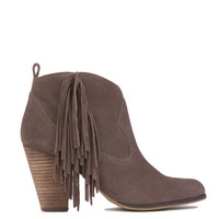 Steve Madden OHIO Side Fringe Ankle Boots - Taupe Suede