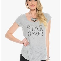 Gray Star Gazer Embellished Graphic Top | $10.00 | Cheap Trendy Tees Chic Discount Fashion for Wome