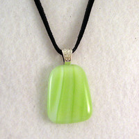 Green White Swirl Fused Glass Pendant - Glass Necklace - Fused Jewelry