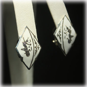 Sterling Earrings, White Earrings, Siam Sterling, Dancing Goddess, Enamel Earrings, Clipon Earrings, Mekhala, Thailand