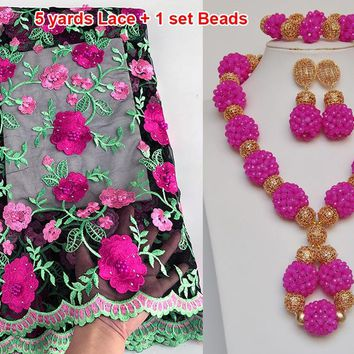 5 yards french lace African Swiss lace tulle fabric matching Beads Jewelry set sold together
