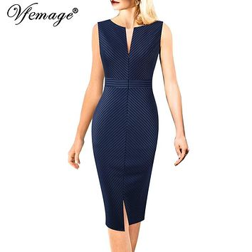 Vfemage Womens Elegant Front Zip Up Striped Print Split Slim Wear to Work Office Business Party Sheath Pencil Bodycon Dress 669