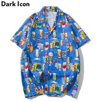 Dark Icon Cocktails Summer Hawaii Style Men's Street Shirt