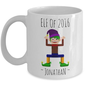 Elf Jonathan Mug Perfect for Holidays, Birthday, Girls, Boys Gift for Him & Her - Inspirational Santa Humor & Personalized Name Cup - Elf Kid Gifts 11 oz Cup For Hot Cocoa, Coffee & Tea