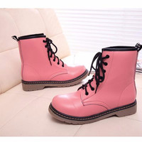Women Motorcycle Boots Fashion Vintage Combat Army Punk Goth