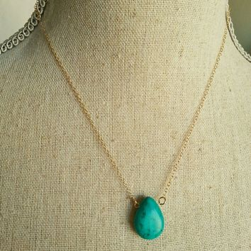 14k gold turquoise teardrop necklace