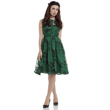 Voodoo Vixen Maggie Green Floral Flare Dress