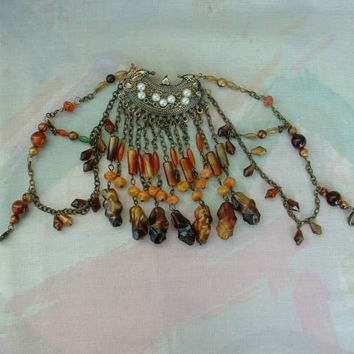 Chatelaine Brooch Pin Pearls Hearts MANY Dangles Vintage Jewelry