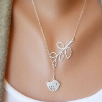 HEXIN New Style Women Cross Leaf Bird Pendant Charm Choker Collar Chain Sweater Necklace (Size: One Size, Color: Silver) = 1697059652