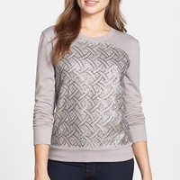 Petite Women's Halogen Embroidered Sweatshirt