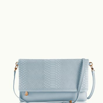 GiGi New York Carly Convertible Clutch Harbor Blue Embossed Python Leather