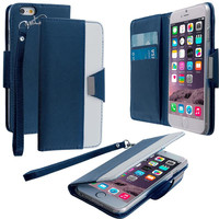 Blue Wallet Magnetic Metal Flap Case Cover With Card Slots for Apple iPhone 6 Plus 6S Plus (5.5)