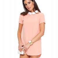 Peter Pan Collar Zip Up Asymmetric Mini Dress