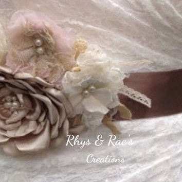Set of 3 Custom Made Linen & Lace Fabric Flowers, Handmade Fabric Flowers, Rustic Wedding, Flower Appliqués, Cake Topper,Decorations