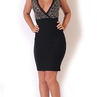 Rubie Black/Gold Floral Lace Top V Neck Ribbed Bodycon Dress