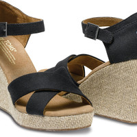 BLACK CANVAS WOMEN'S STRAPPY WEDGES
